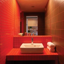 Red Bathroom Sink Design Hotel Lanchid19 Budapest