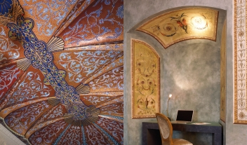 Hospes Palacio Del Bailio Corridor Desks Extraordinary Ceiling Art Decoration Detail M 03 R