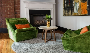 The Dwell Green Couch in Chattanooga