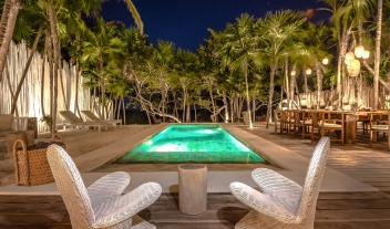 Villa la Semilla Pool Night View in Tulum