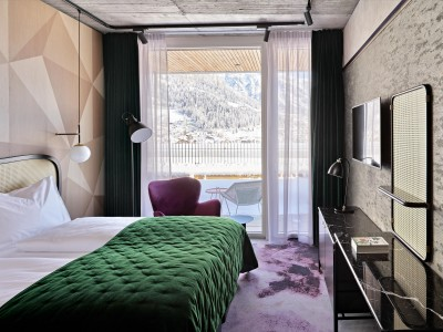 The Hide Hotel Flims Bedroom interior design details in Flims