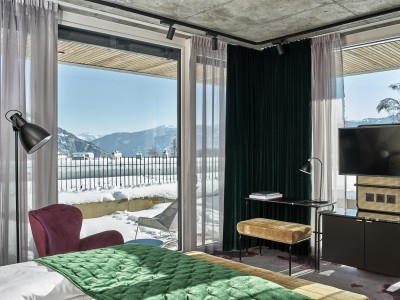 The Hide Hotel Flims Junior Suite Bedroom interior design details in Flims