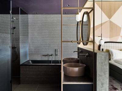 The Hide Hotel Flims Junior Suite Bathroom interior design details in Flims