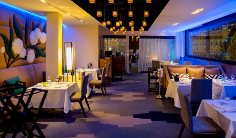 Five Seas Hotel Cannes Restaurant Interior Design City View By Night M 14 R