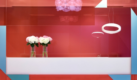 Fresh Hotel Reception Desk Colored Glass Walls M 14 R