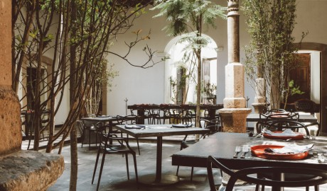 Hotel Emiliano Courtyard Dining Tables in Leon