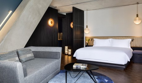 Nobu Hotel Shoreditch Guestoom Bed in London