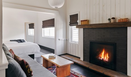 Scribners Catskill Lodge Guestroom Fireplace in Hunter Mountain