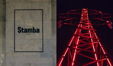 Stamba Hotel, Neon Tower in Tbilisi