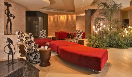 Tribe Hotel Entrance Lounge Red Sofas M 08 R