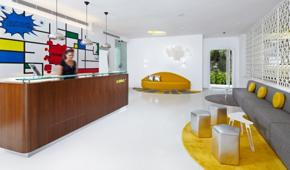 interior decoration details paint wall reception and yellow details