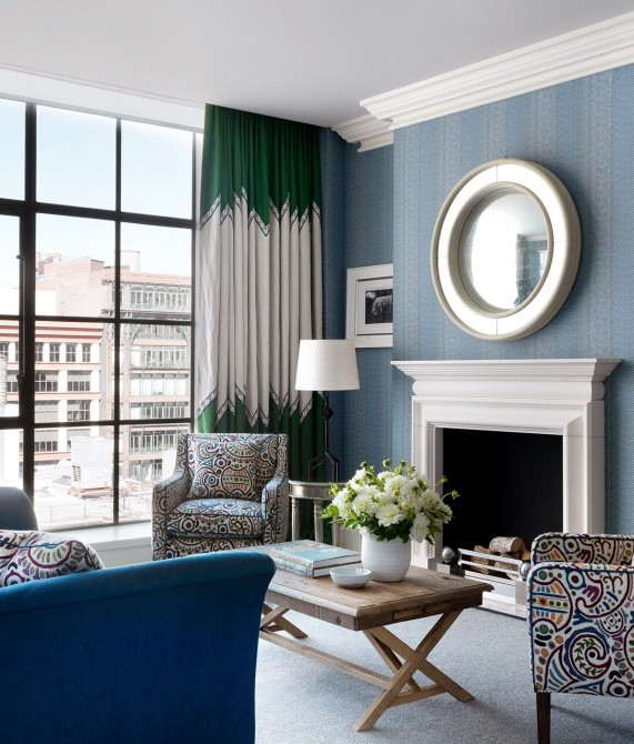 Crosby Street Hotel Blue Wall in New York City