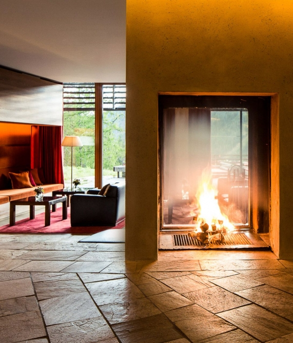 Vigilius Mountain Resort Fireplace in South Tyrol